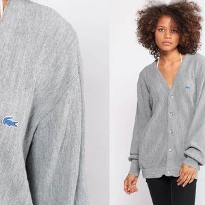 Oversized Gray Lacoste Cardigan